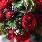 O赤バラと秋色紫陽花のブーケ